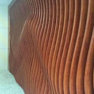 墻面弧形木紋鋁方通裝飾效果圖