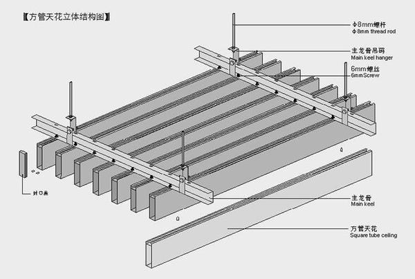 鋁方通吊頂安裝圖